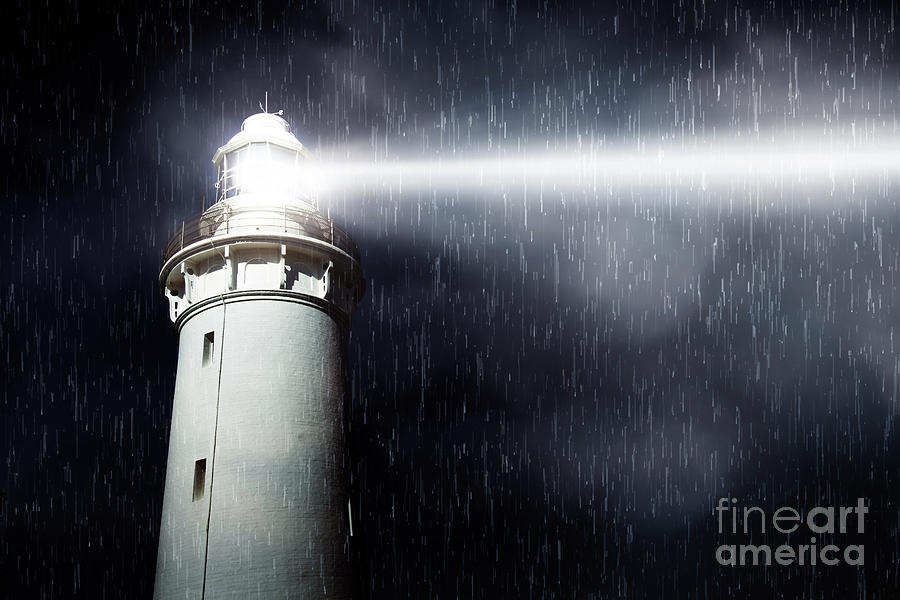 Lighthouse Photograph - Storm Searchlight by Jorgo Photography - Wall Art Gallery