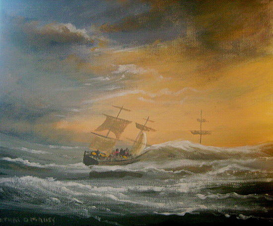 Ireland Painting - Storm Ships by Cathal O malley