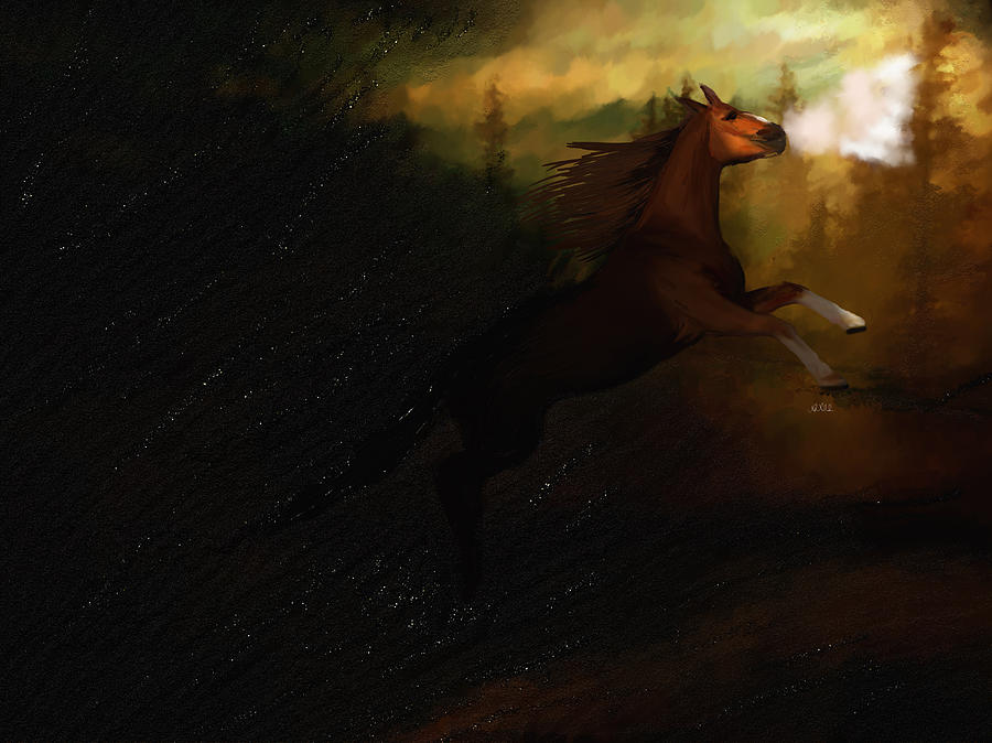 Storm Painting - Storm Spooked by Angela A Stanton