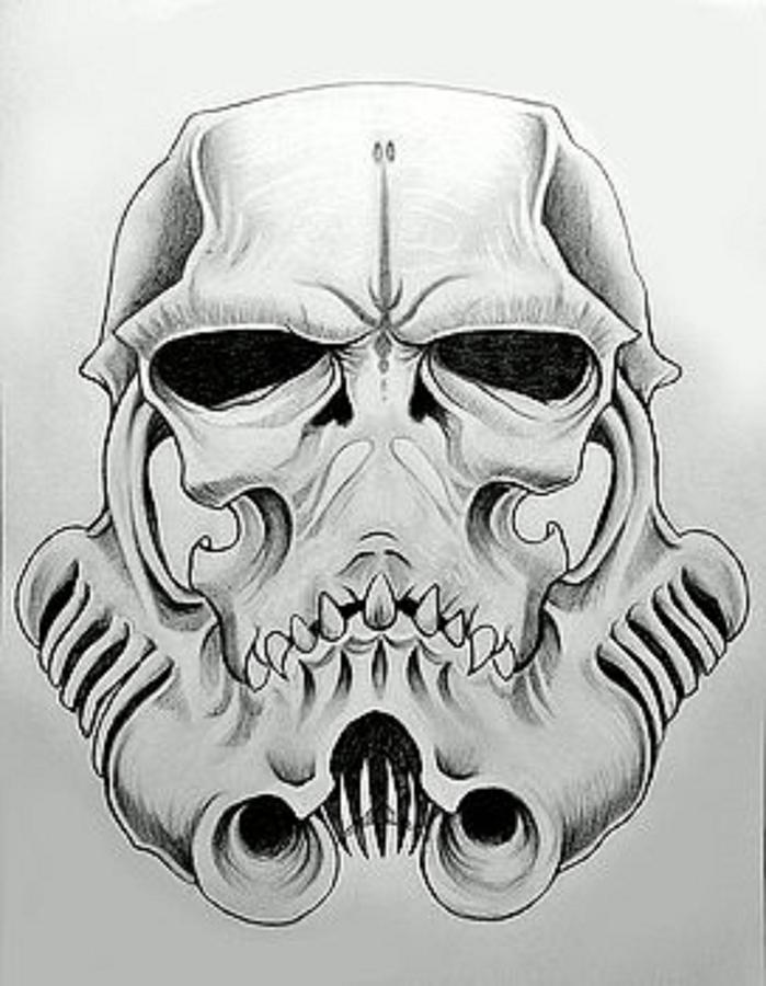 Star Wars Drawing - Storm Trooper Skull  by Justin Boysko