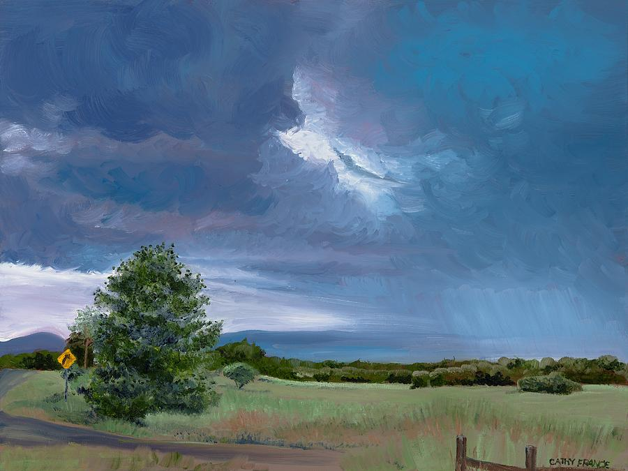 Landscape Painting - Storm Warning Yell County Arkansas by Cathy France