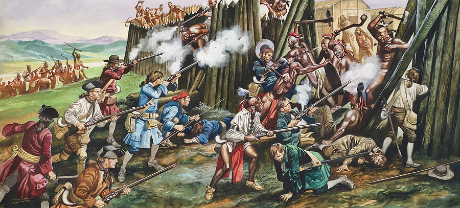 American Indian; Native; Soldier; Gun; Fortress; Axe; Tribe; Troop; Musket; Smoke; Fence; Fighting; Attack; Casualty; North Carolina; Battle; Siege; Revolt; Children's Illustration; Cherokee; Fort Painting - Storming Of The Fortress Of Neoheroka by Ron Embleton