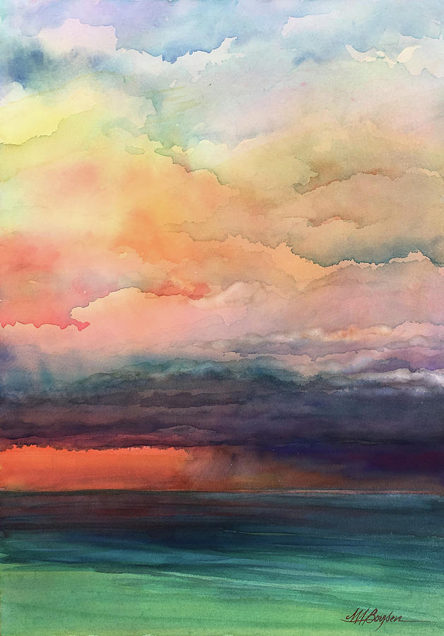 Clouds Painting - Storms A Brewin by Maryann Boysen