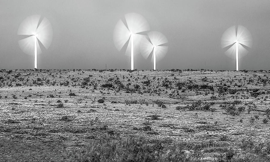 Wind Turbines Photograph - Storms and Halos BW by Scott Cordell