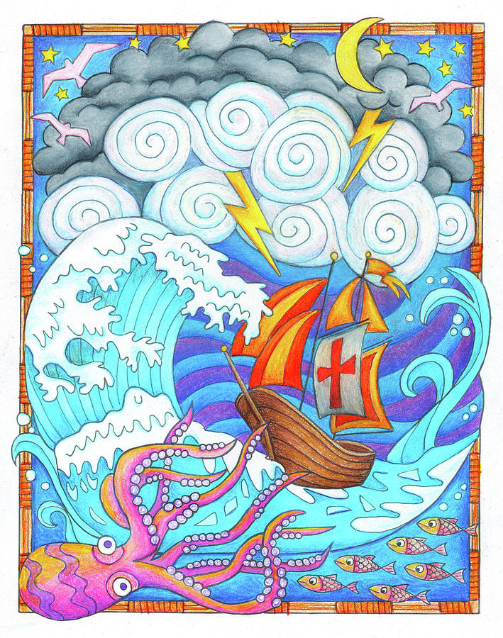 Octopus Drawing - Storms Of Life by Jennifer Allison