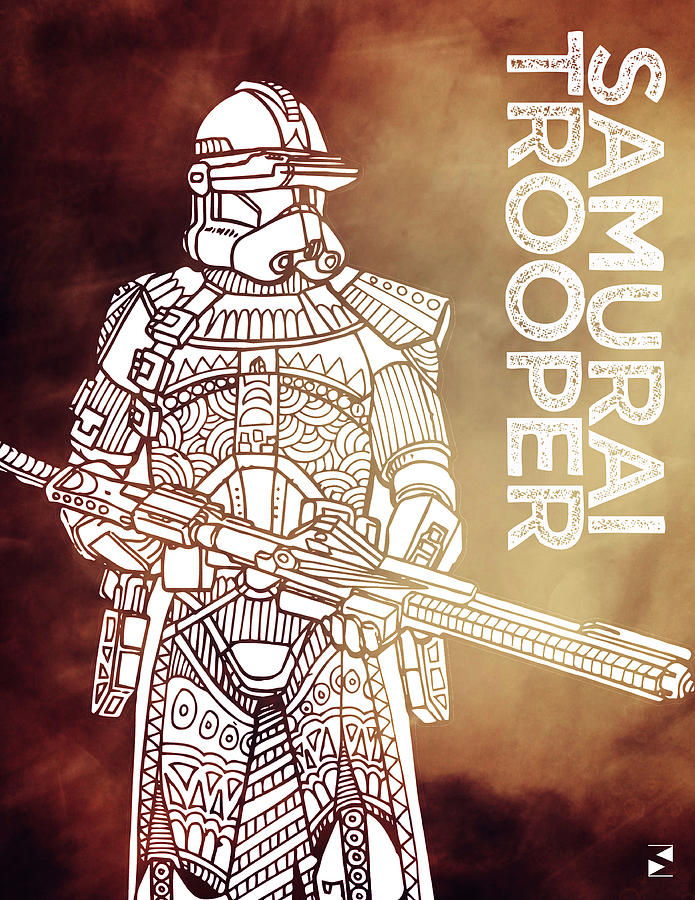 Stormtrooper - Star Wars Art - Brown Mixed Media