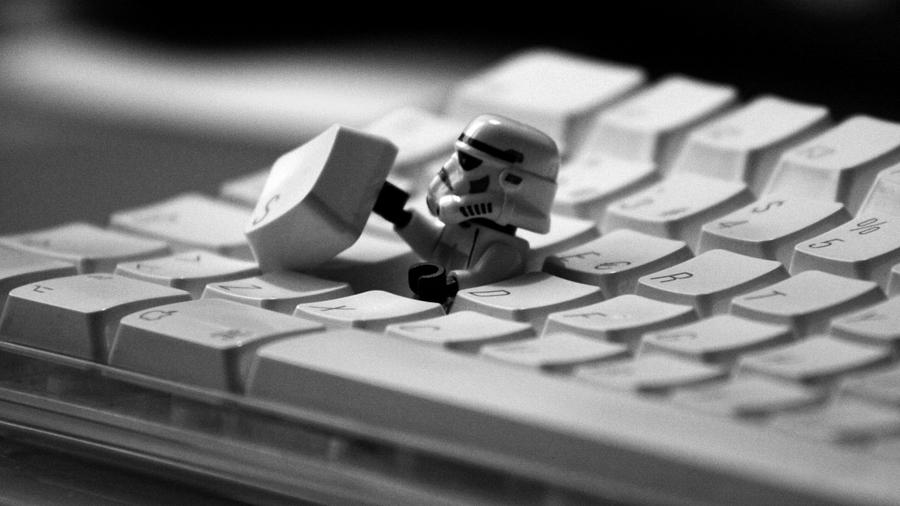 Stormtrooper escaping from the keyboard-1153 by Jovemini ART