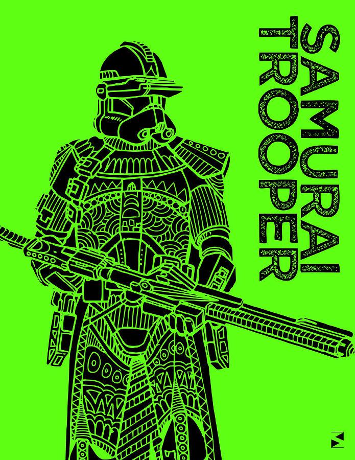 Stormtrooper - Green - Star Wars Art Mixed Media