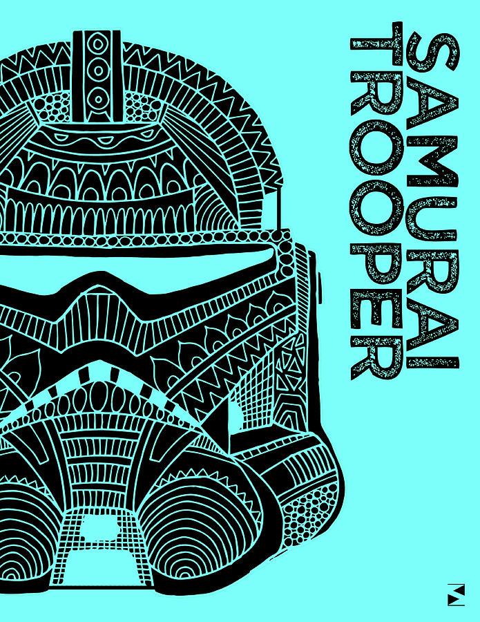 Stormtrooper Helmet - Blue - Star Wars Art Mixed Media