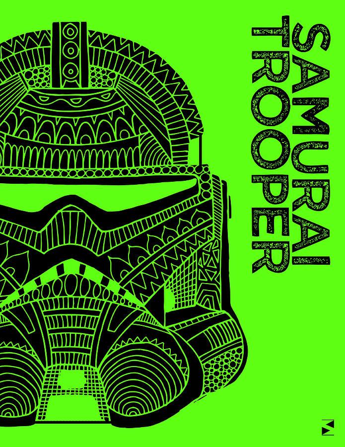 Stormtrooper Helmet - Green - Star Wars Art Mixed Media