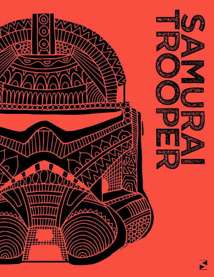 Stormtrooper Helmet - Red - Star Wars Art Mixed Media