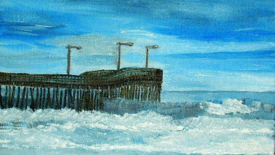 Morro Bay Ca Painting - Stormy At Morro Bay by Leslye Miller
