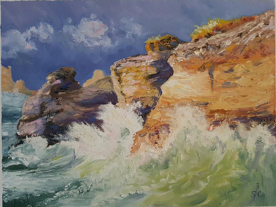 Stormy Cliffs at Sea by Sharon Casavant