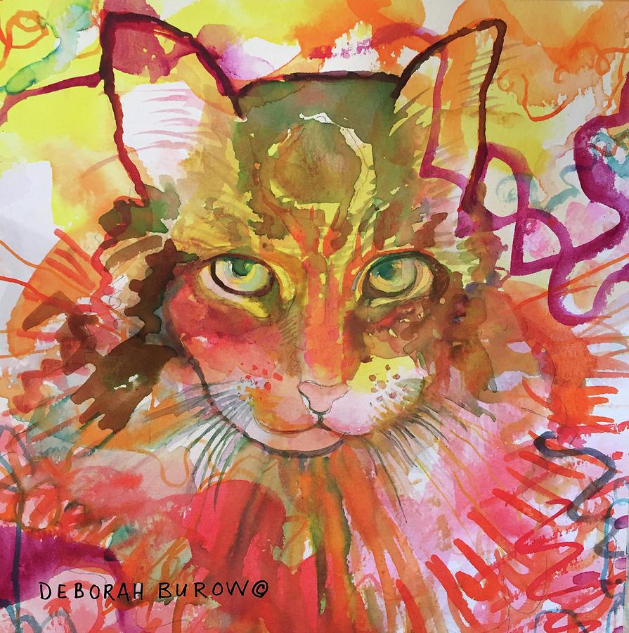 Cat Painting - Stormy by Deborah Burow