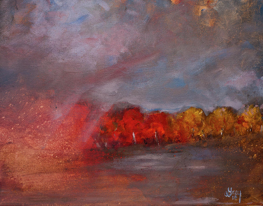 Stormy Fall Landscape Red Yellow Leaves Painting