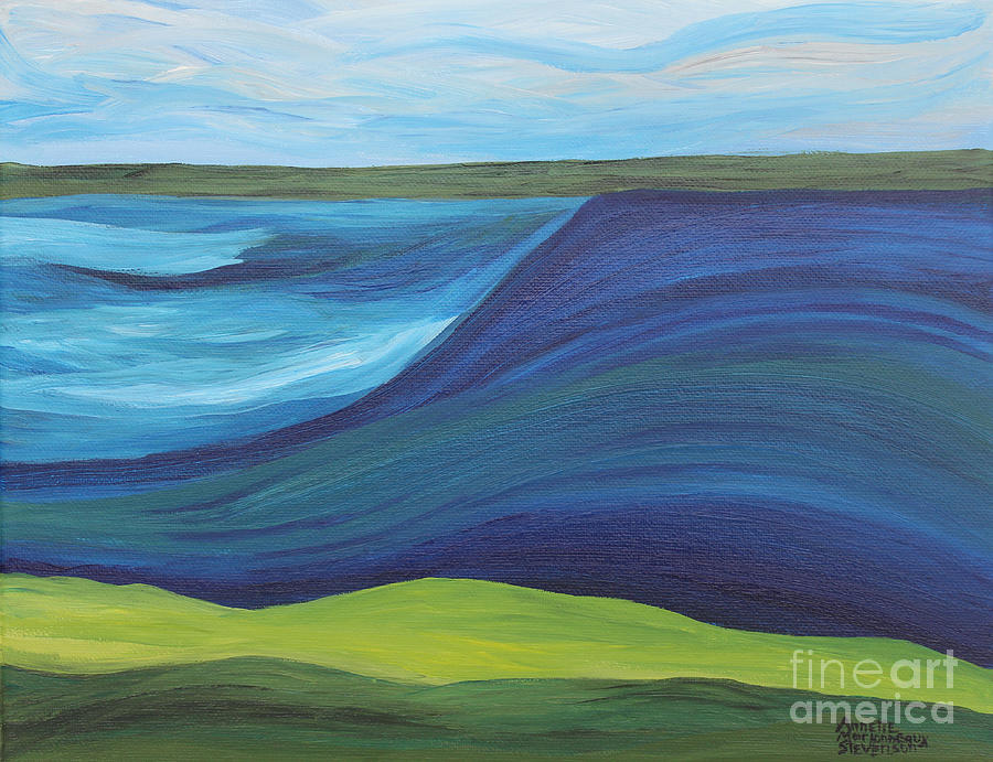 Storm Painting - Stormy Lake by Annette M Stevenson