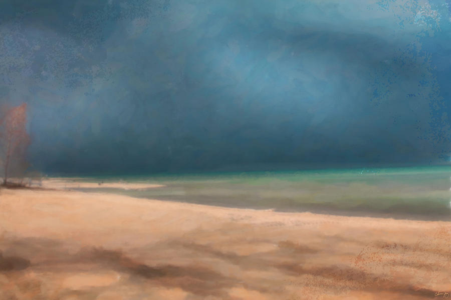 Digital Painting Painting - Stormy Lake Huron 2 by Chamira Young