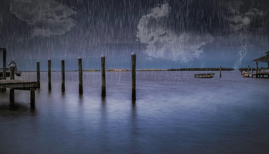 Dunedin Marina Photograph - Stormy Night by Todd Rogers