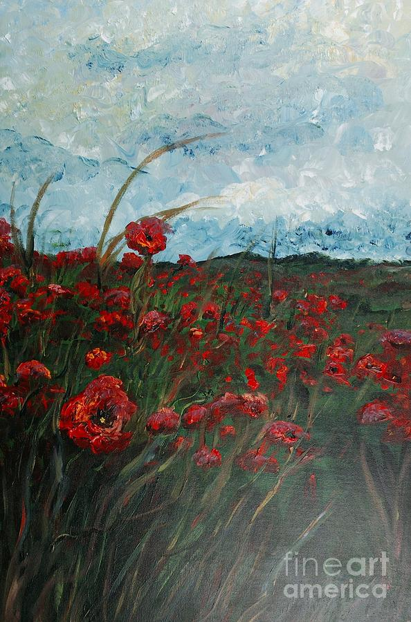 Poppies Painting - Stormy Poppies by Nadine Rippelmeyer