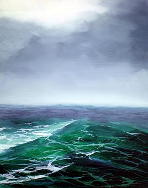 Ocean Painting - Stormy Sea by Nancy  Hogan Armour