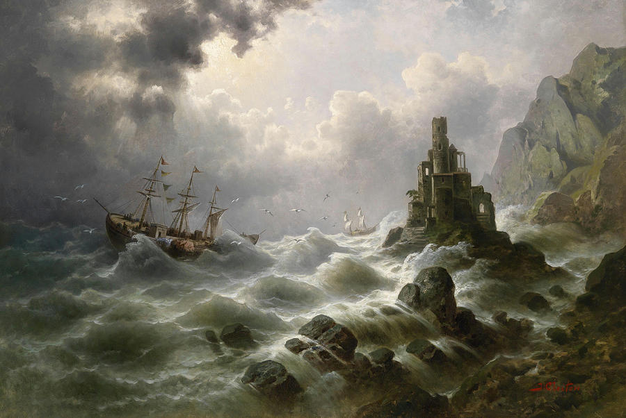 Stormy Sea With Lighthouse On The Coast Painting by Claiton