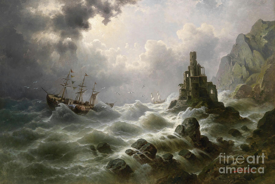 Circa 1900 Painting - Stormy Sea With Lighthouse On The Coast by Celestial Images