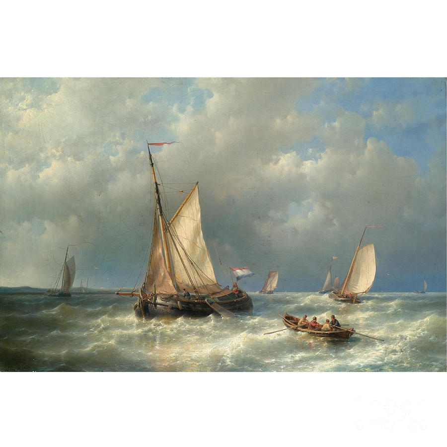 Stormy Sea With Ships Painting By Motionage Designs