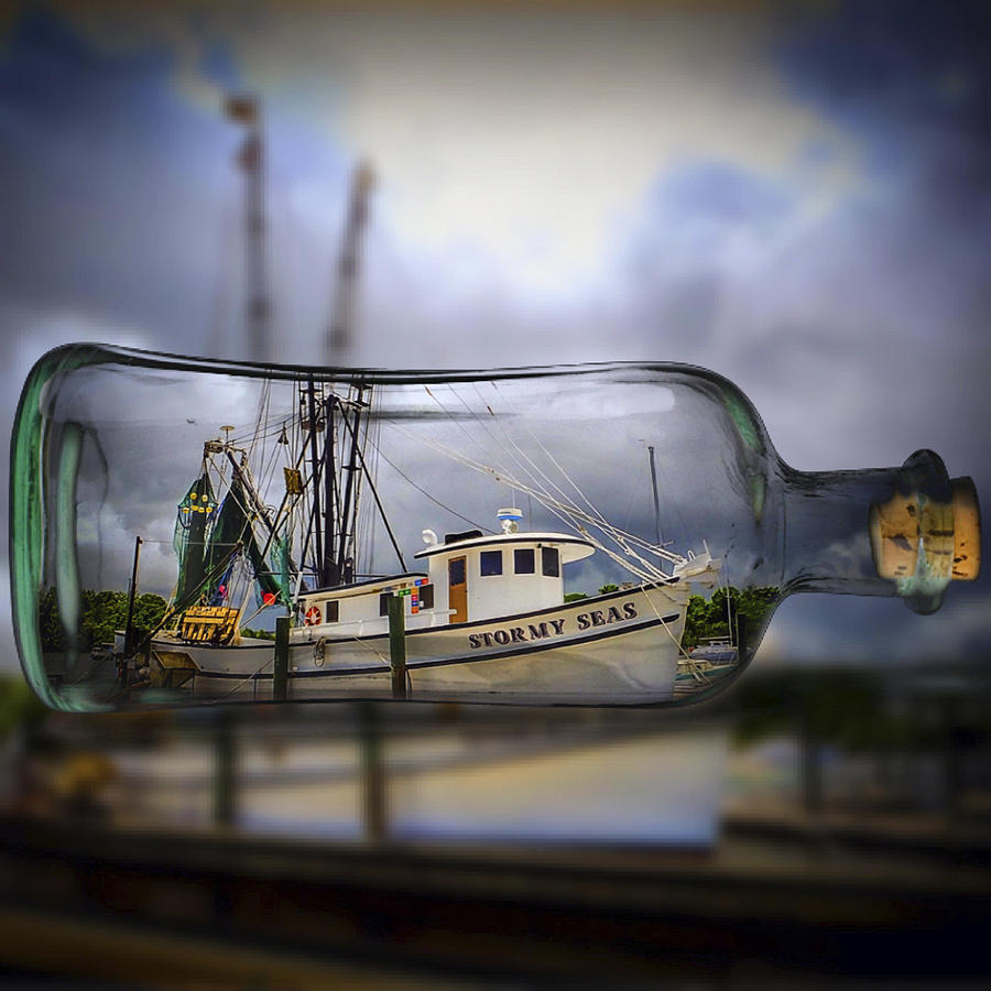 Stormy Seas Photograph - Stormy Seas - Ship In A Bottle by Bill Barber