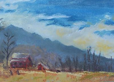 Plein Air Painting - Stormy Shelter by Julieanne Nielsen