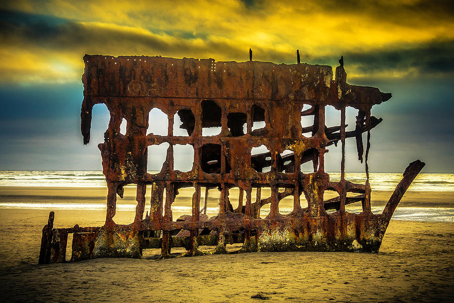 Rusty Photograph - Stormy Shipwreck by Garry Gay