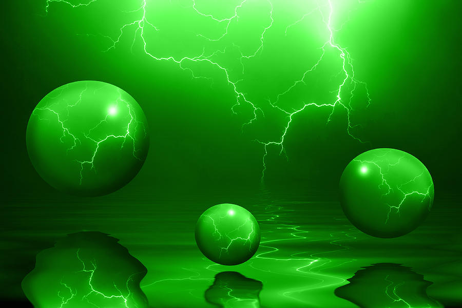 Bubbles Photograph - Stormy Skies - Green by Shane Bechler