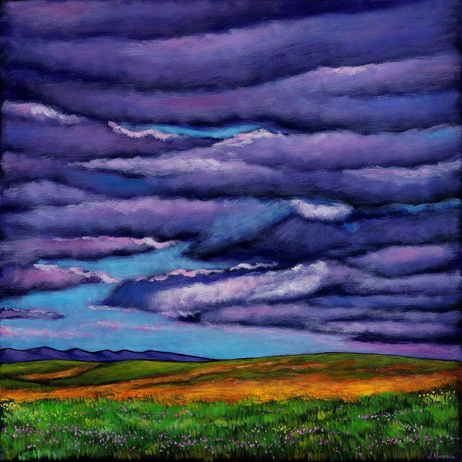 Landscapes Painting - Stormy Skies Over the Prairie by Johnathan Harris