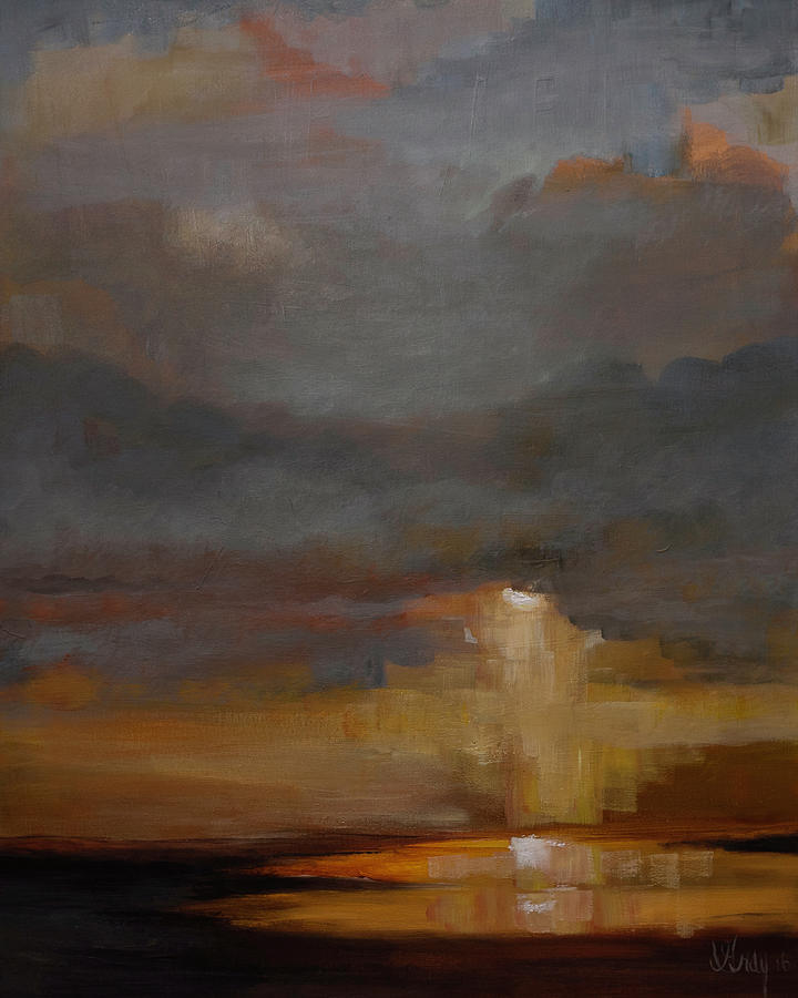 Stormy Waterscape Sunset Seascape Marsh Painting Painting