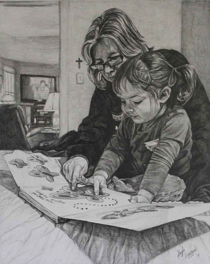 Reading Drawing - Storytime by Kayla Wyszynski