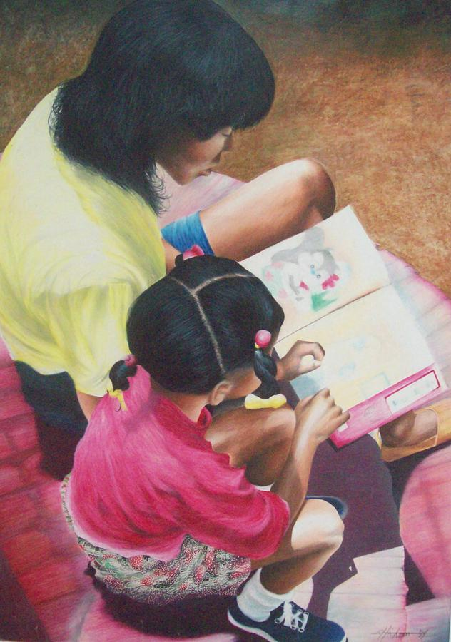 Colored Pencil Drawing - Storytime On The Steps 1 by Sylvester Hickmon