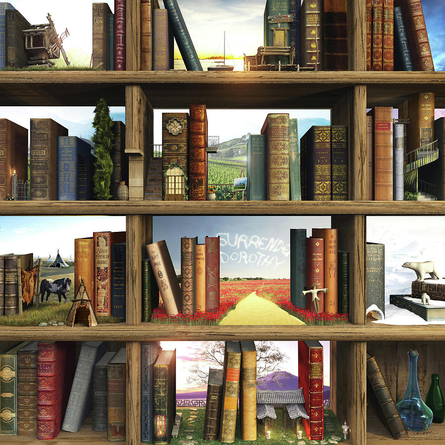 Books Digital Art - Storyworld by Cynthia Decker