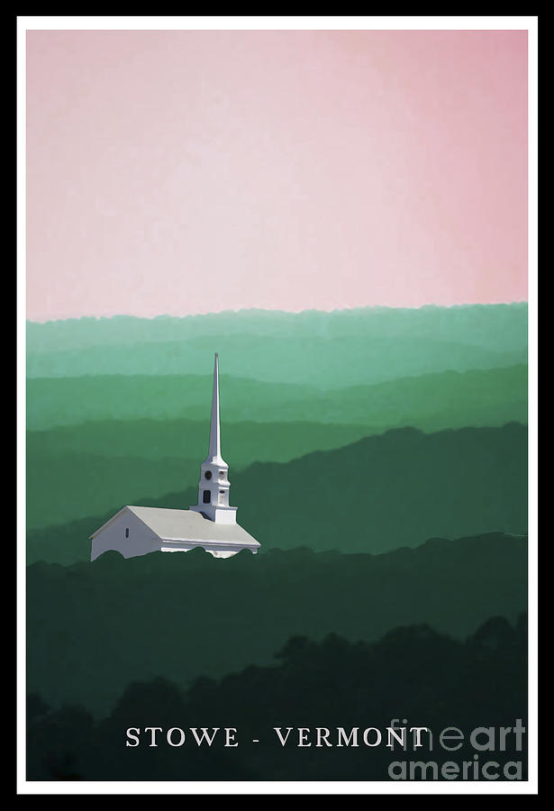 Church Painting - Stowe Vermont Summer Poster by Edward Fielding