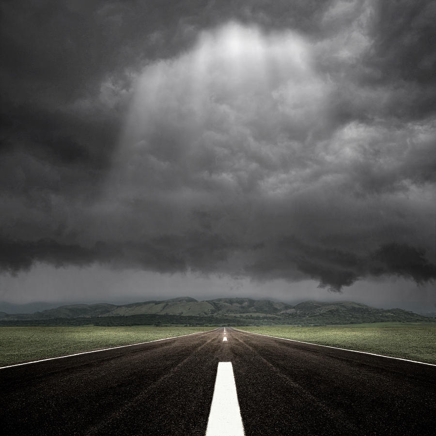 Square Photograph - Straight Road by Carlos Gotay