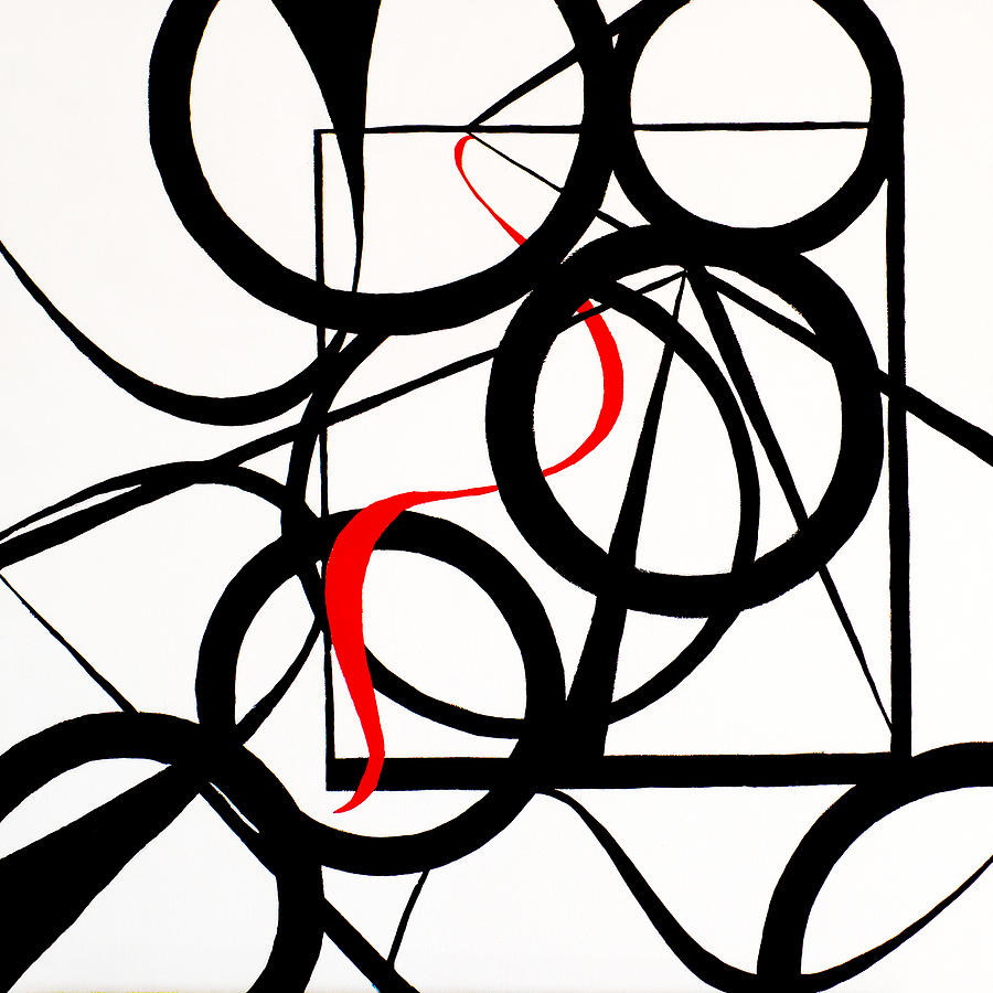 Geometric Painting - Straights And Rounds by Art by Kar