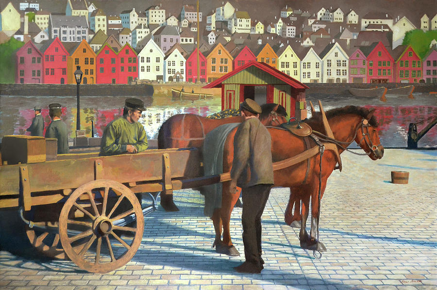 Horse Painting - Strandkaien by Arild Amland