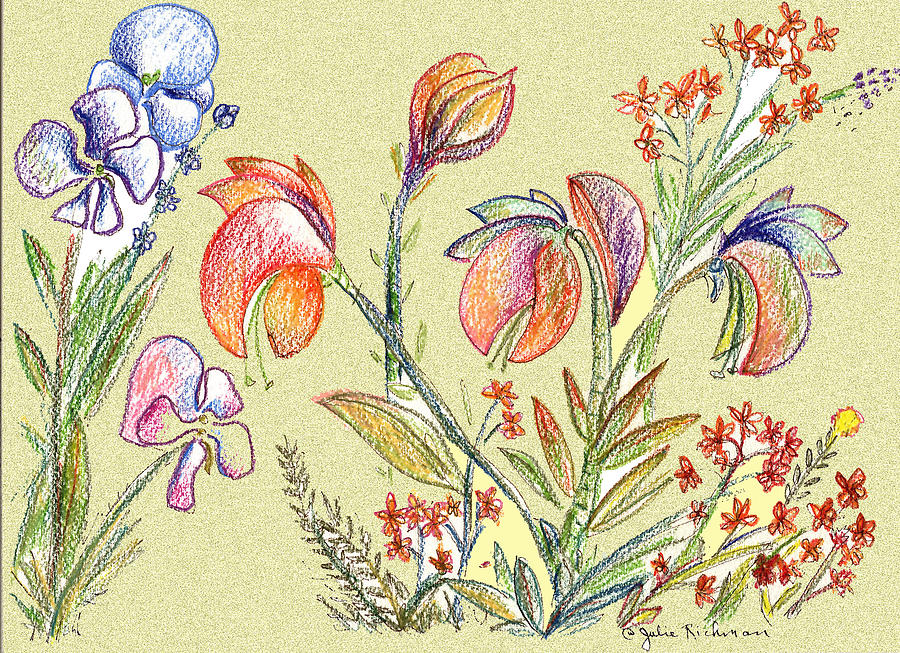 Orchids Digital Art - Strange Orchid Drawing by Julie Richman