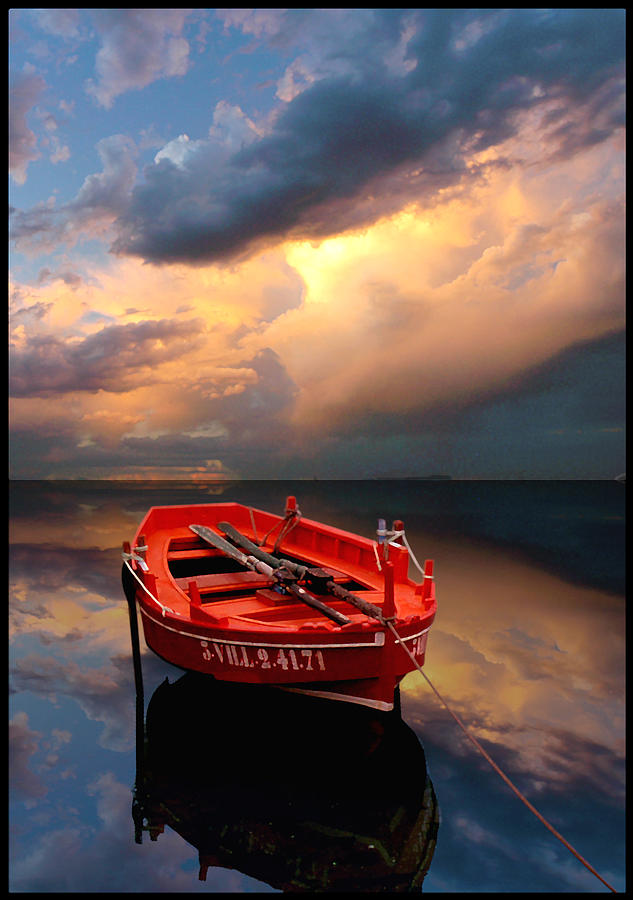 Boats Painting - Strange Stillness1 by Carlos Casamayor