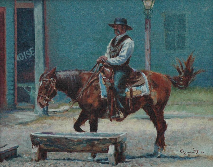 Cowboy Painting - Stranger In Town by Jim Clements