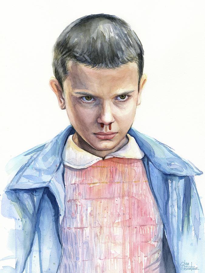 Sci-fi Painting - Stranger Things Eleven Portrait by Olga Shvartsur