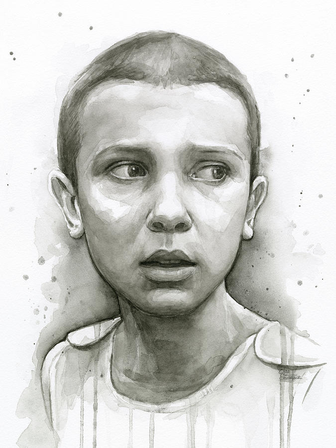 Eleven Painting - Stranger Things Eleven Upside Down Art Portrait by Olga Shvartsur