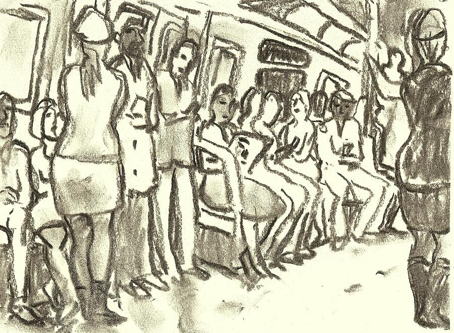Subway Drawing - Strap Hangers, Nyc Subway by Thor Wickstrom