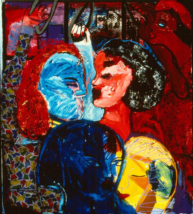 Straphanger Strangers Painting by Nina Talbot