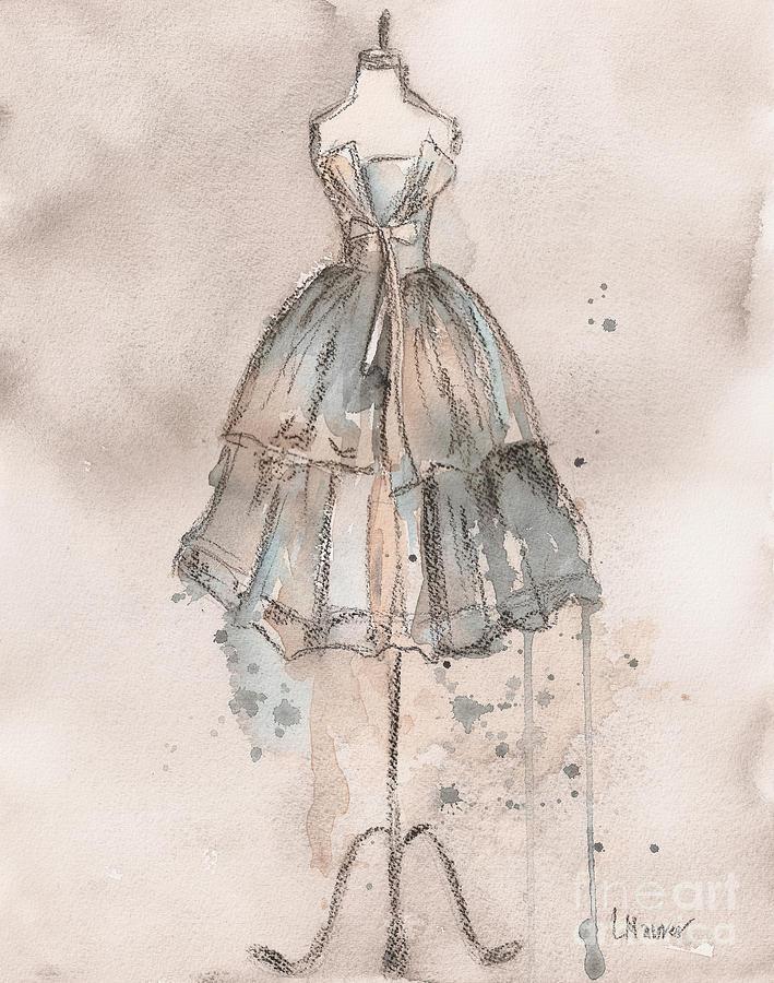 Vintage Dress Painting - Strapless Champagne Dress by Lauren Maurer