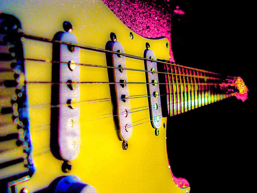 Fender Stratocaster Photograph - Stratocaster Pop Art Pink Fire Neck Series by Guitar Wacky