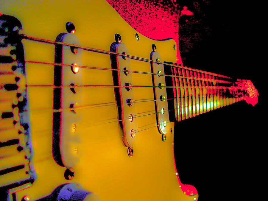 Fender Stratocaster Photograph - Guitar Pop Art Hot Rasberry Fire Neck Series by Guitar Wacky